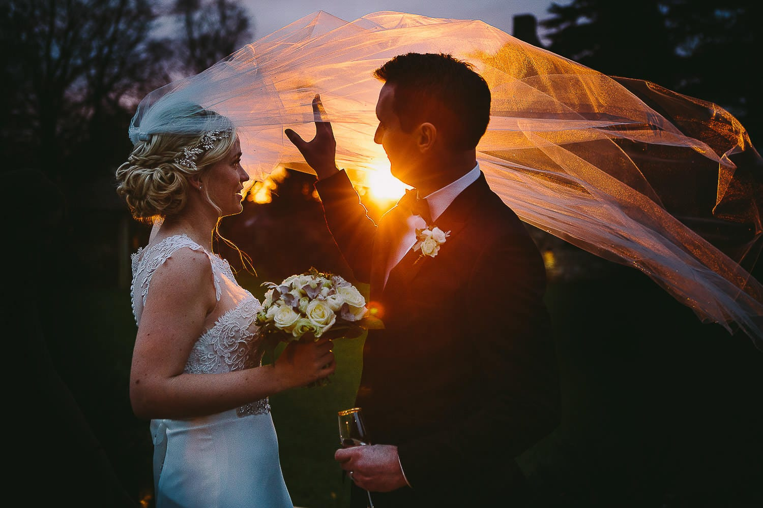 The bride and groom at sunset on New Year's Eve