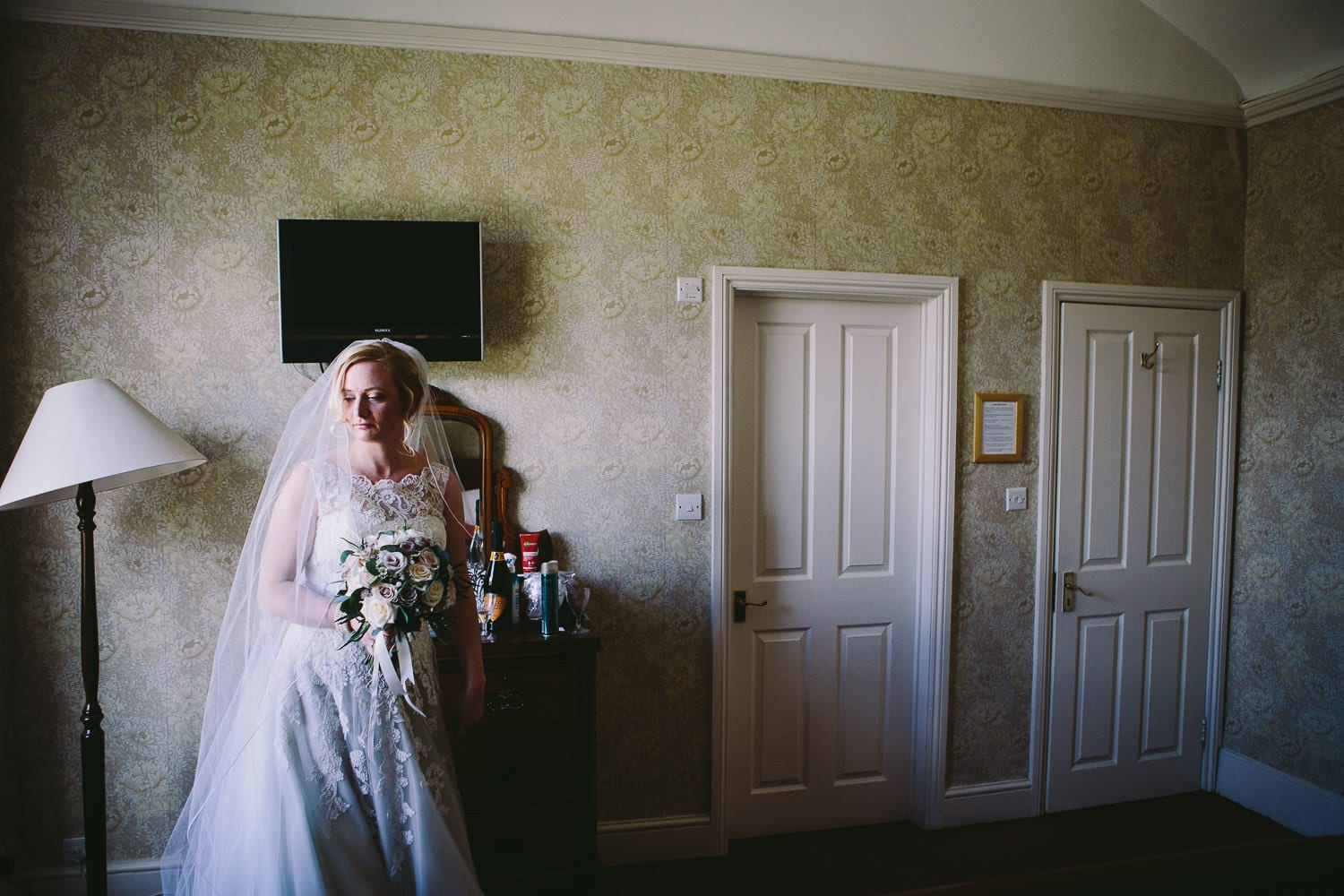 The bride waits for her father