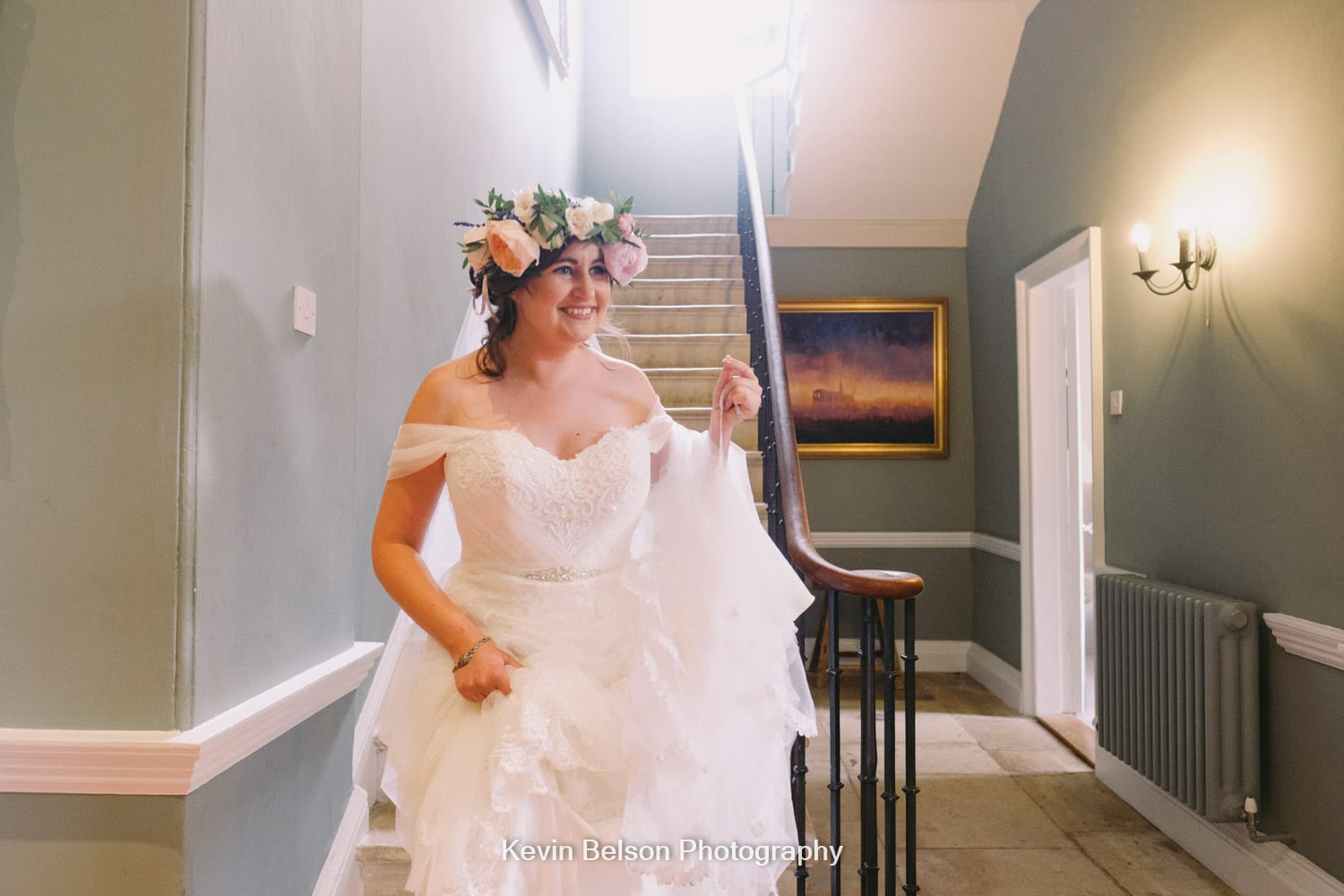 the bride descends the stairs