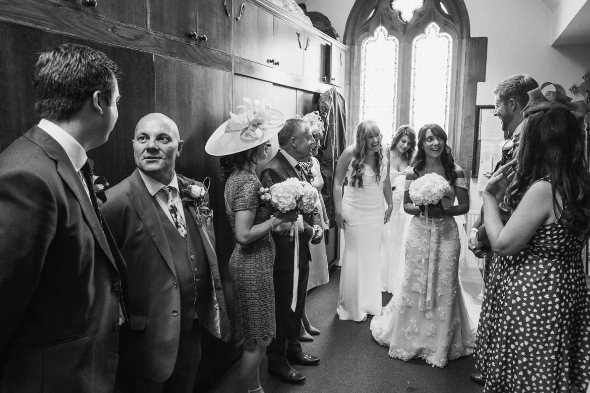 the wedding party in the vestry