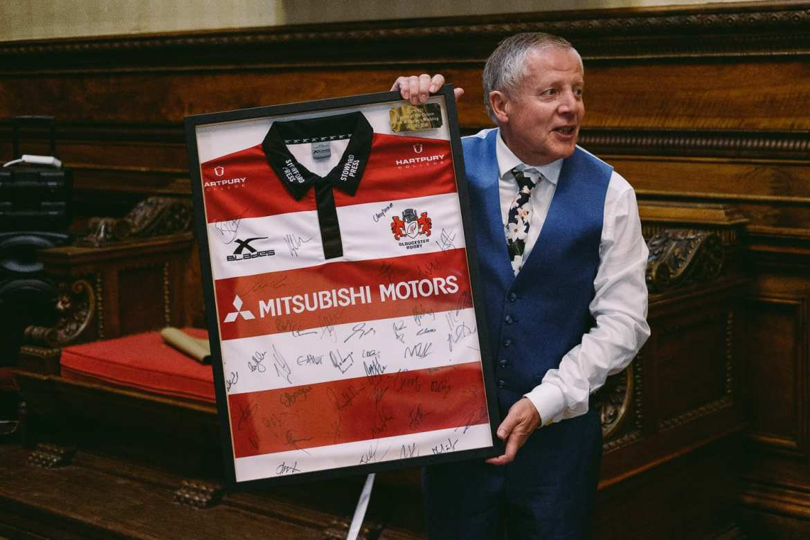 the father of the groom gets a signed rugby shirt