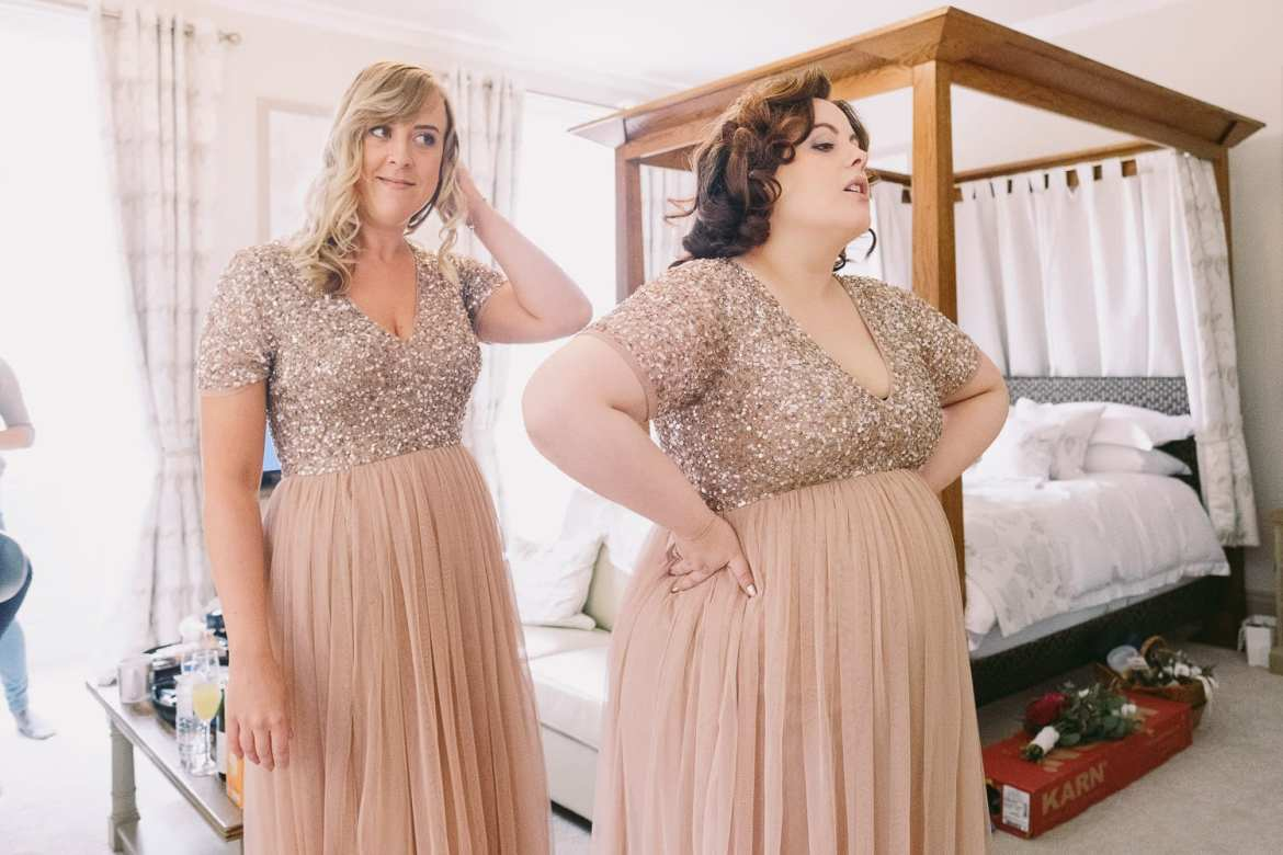 The bridesmaids in their dresses