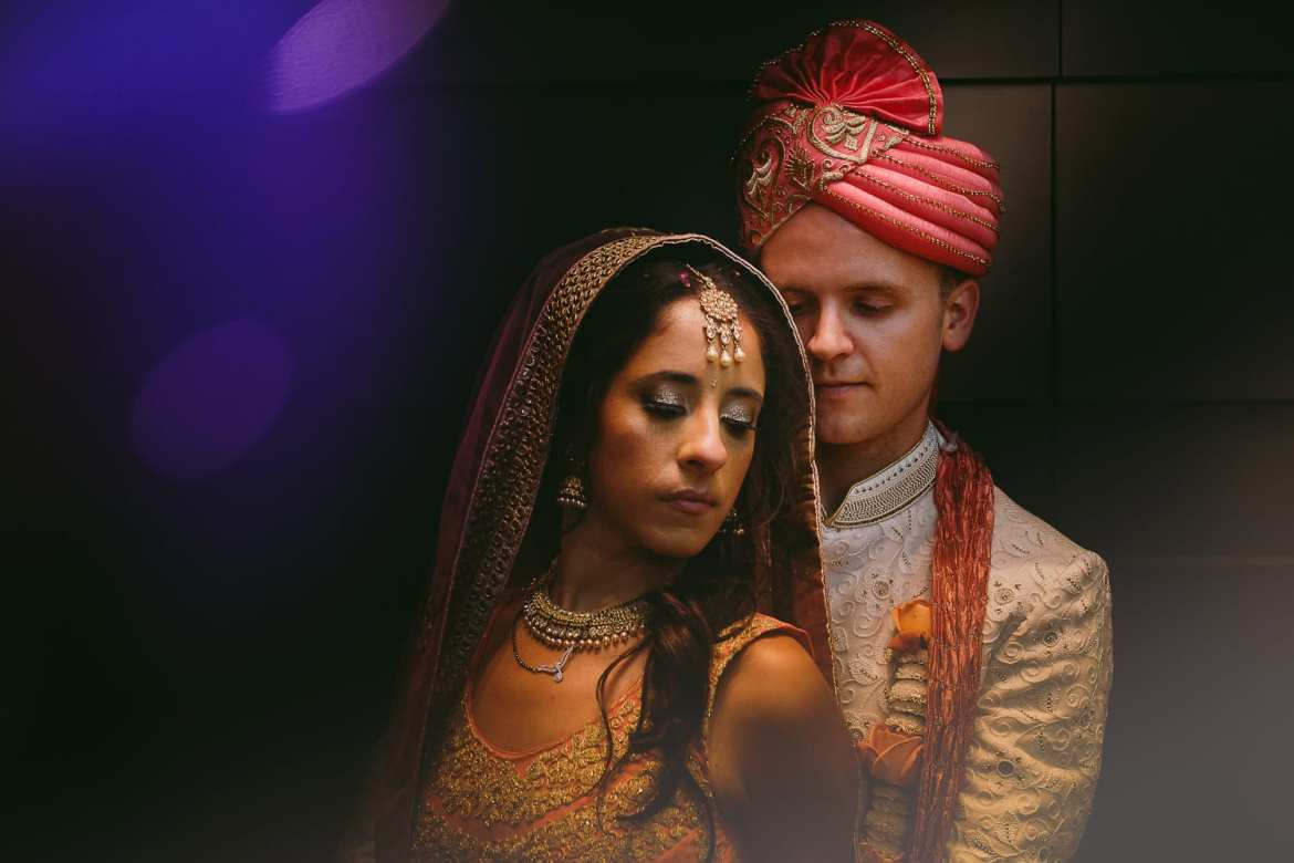 Intimate portrait of the Indian couple after their wedding