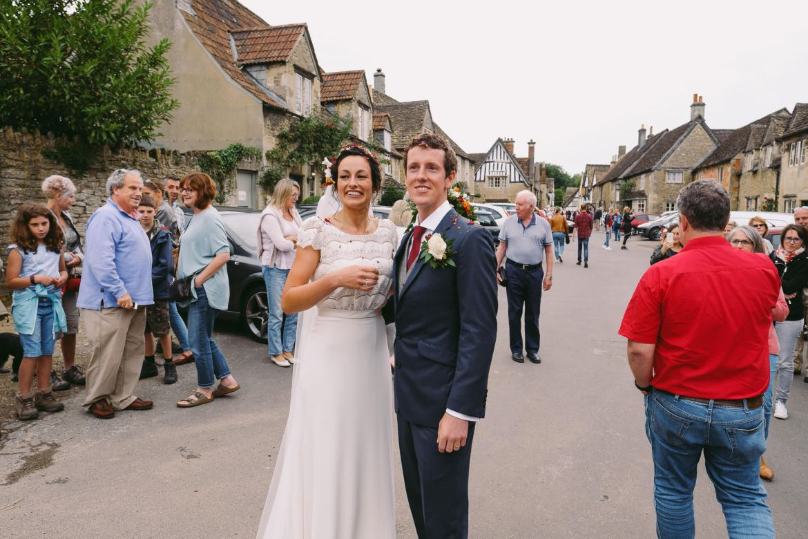 bride and groom in the street