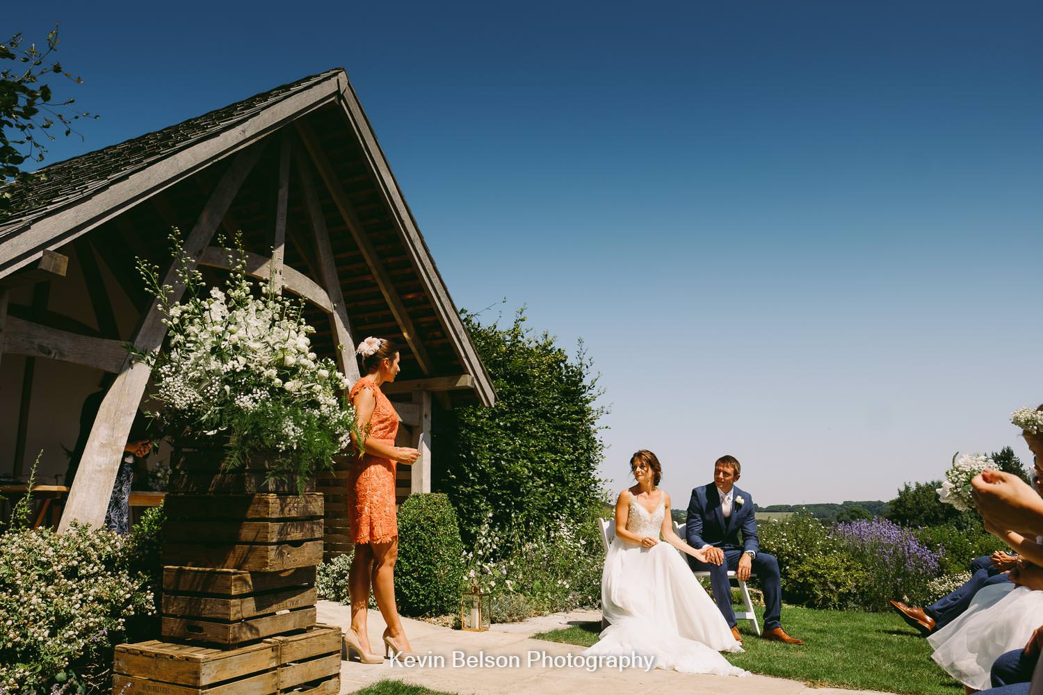 outdoor cermony at Kingscote Barn