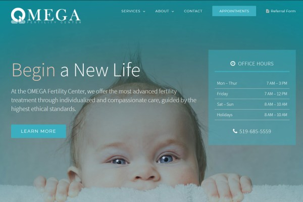 OMEGA Fertility Center Website Cover