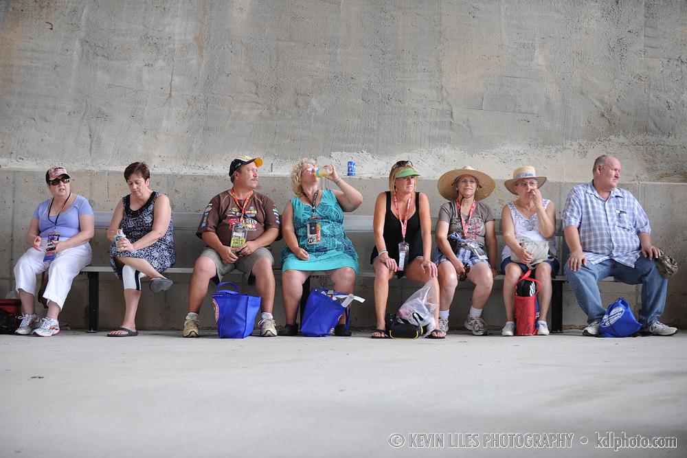 NASCAR fans take a break at Atlanta Motor Speedway.