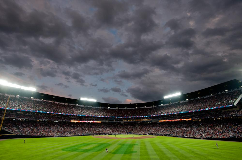 View of Turner Field and beautiful sky during game between Arizona Diamondbacks and Atlanta Braves.