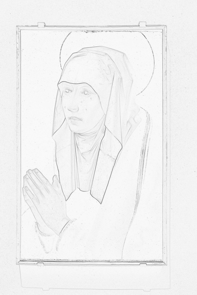Outline Drawing: Uffizi Gallery Painting, Florence, Italy.