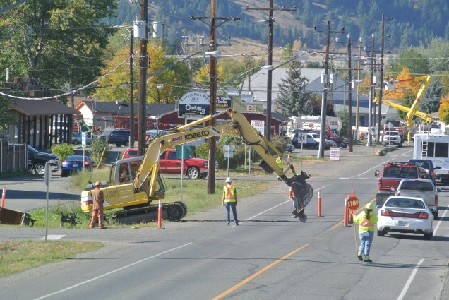 Pole installation and work on Voght street Merritt. File photo KDG Photo KDG