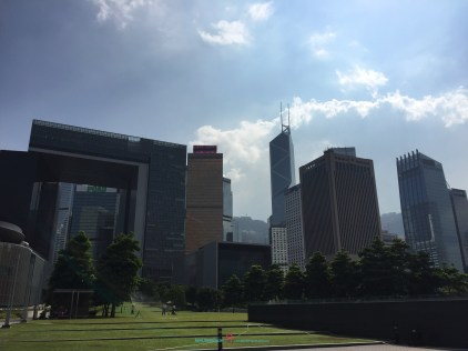Tamar Park Admiralty- looking back at the city landscape with the towering mountains like inorganically grown everso changing landscape..