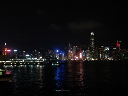 canyons of towering mountains with ever changing oriental night time lantern skyline..