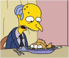 Burns eating Fish