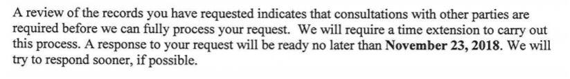 November 23 response