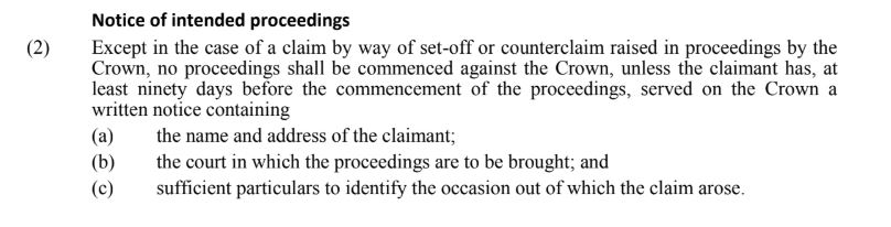 Notice of Intended Proeedings