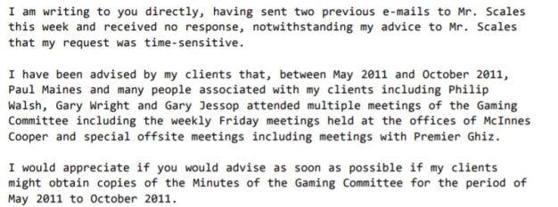 Biggar letter to gaming committee members