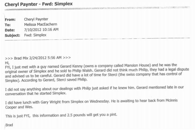 July 10 email from Cheryl to Melissa fwd of mix