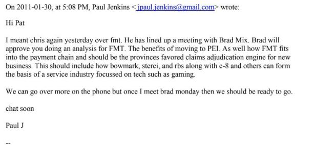 January 30 email from pj to pm