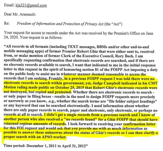 June 24, 2020 acknowledgement letter capture