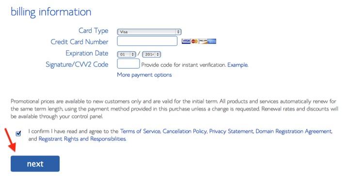 image of Bluehost billing information form