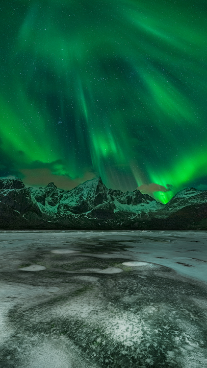 Frozen Reflections Of Northern Lights
