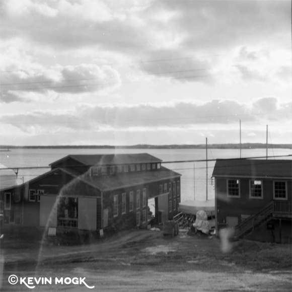 A double exposed image of the Shipworks in Lunenburg Nova Scotia