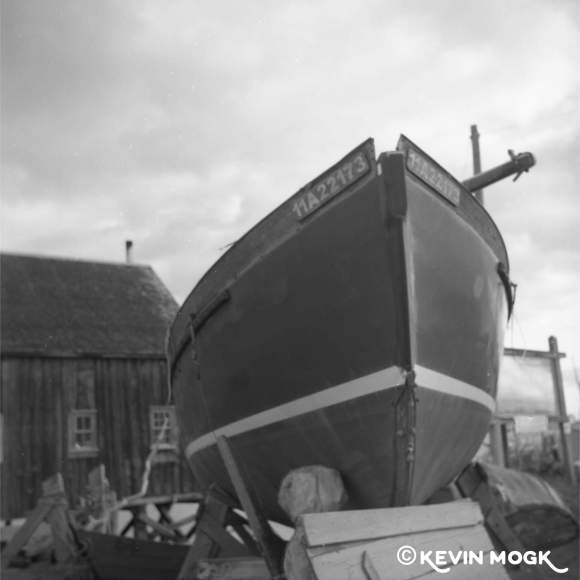 A boat in dry dock at the Dory Shop Lunenburg Nova Scotia