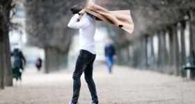 Long manteau marron pour homme