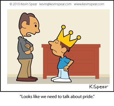 Cartoon of a dad and son. Son has crown on his head.
