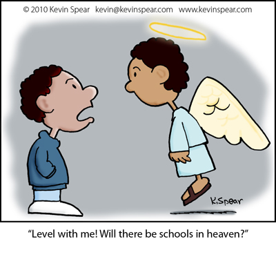 Cartoon of a boy and angel