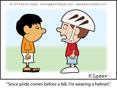 Cartoon of boy with bike helmet