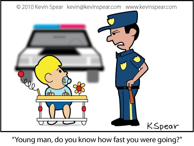 Cartoon of a baby in a walker and a police officer