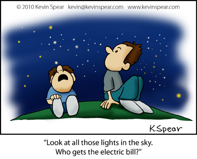 Cartoon of a father and son gazing at the stars