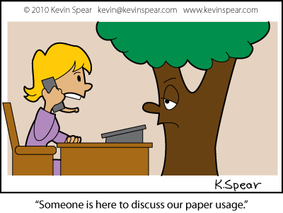 Cartoon of a tree in a receptionist's office