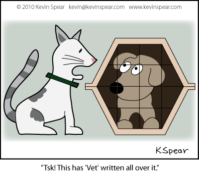 Cartoon of dog in a cage and a cat