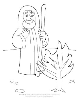 Coloring page of Moses and the Burning Bush. The story is in Exodus, chapter 3