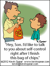"Cartoon of a dad eating potato chips. He says to his son, ""Hey, Son. I'd like to talk to you about self control right after I finish this bag of chips."""