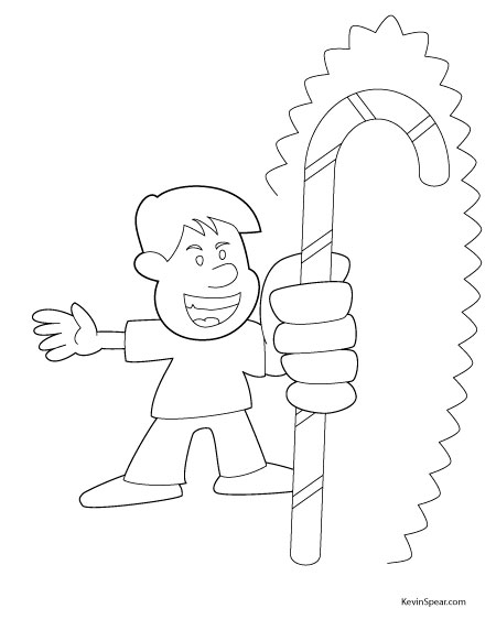 Image of boy and candy cane coloring page
