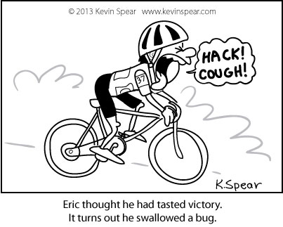 Cartoon of a bicyclist that just swallowed a bug