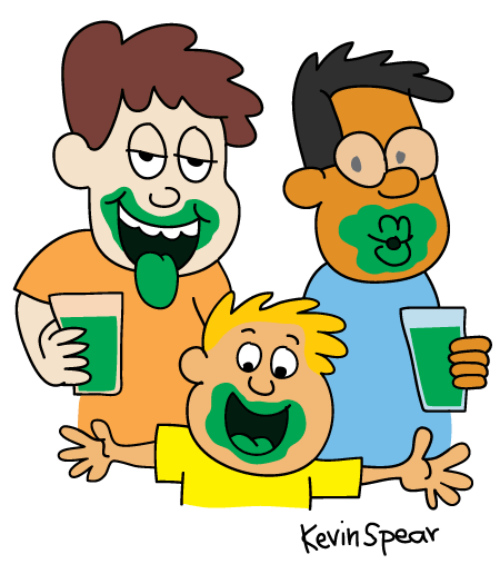 Three boys with green dye on their lips