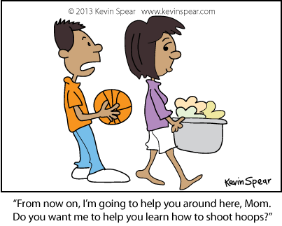 Cartoon of a boy with a basketball and a mom