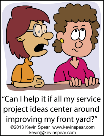 Cartoon of two women brainstorming on service projects
