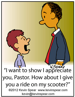 Cartoon of a boy wanting show appreciation to his pastor