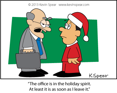 Christmas cartoon of a grumpy businessman
