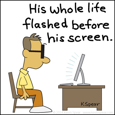 Cartoon of a man staring at a computer screen