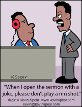 Cartoon of a pastor and a sound technician