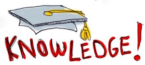 "Sketch of a mortar board and the word, ""Knowledge!"""