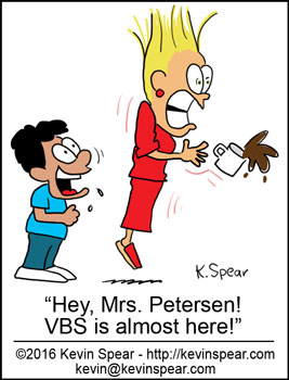 "Cartoon of a boy yelling to a teacher, ""Hey Mrs. Petersen! VBS is almost here!"""