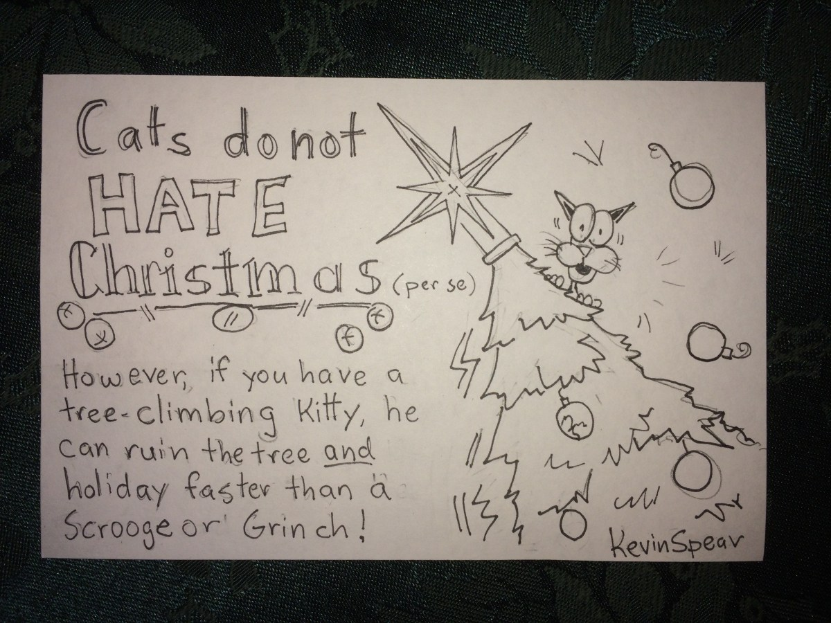 "sketch note of a cat in a Christmas tree. The text says, ""Cats don't hate Christmas. However, if you have a tree-climbing kitty he can ruin the tree and holiday faster than a Scrooge or Grinch!"