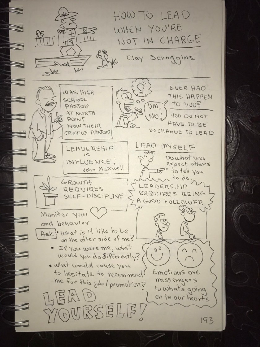 "Page 1 of sketch notes on ""How to Lead When You're Not in Charge,"" by Clay Scroggins"